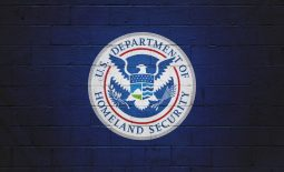 DHS Flag painted on a wall